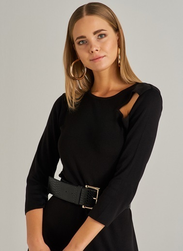 People By Fabrika Cut Out Detaylı Triko Elbise Siyah